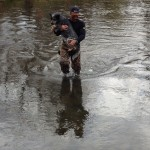 Johnny taking Pancho across the Galena river